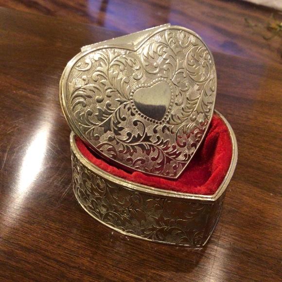Vintage Red Velvet Lined Silver Heart Trinket Box